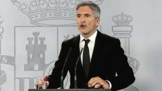 El ministro del Interior, Fernando Grande-Marlaska, durante una rueda de prensa en Moncloa. (Foto: Europa Press)