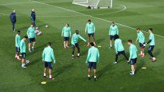 El jugadores del Real Madrid, durante un entrenamiento. (Getty)