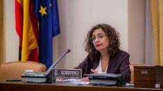María Jesús Montero, ministra de Hacienda, en su comparecencia en la Cámara Baja (Europa Press).