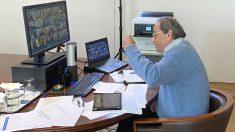 El presidente de la Generalitat, Quim Torra, interviene en la séptima reunión telemática de presidentes autonómicos con el presidente del Gobierno, Pedro Sánchez, sobre la gestión de la pandemia de coronavirus. (Foto: Europa Press)