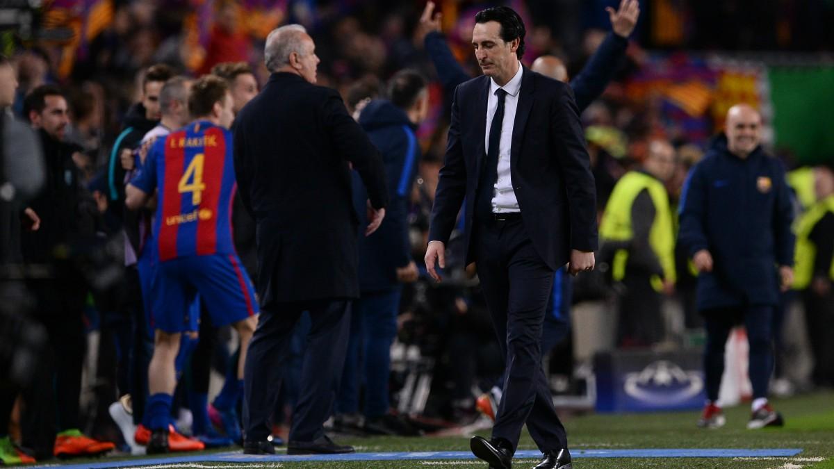 Unai Emery, durante el Barcelona – PSG. (AFP)