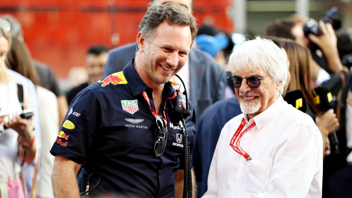 Bernie Ecclestone junto a Christian Horner durante el GP de Abu Dhabi el año pasado. (Getty)