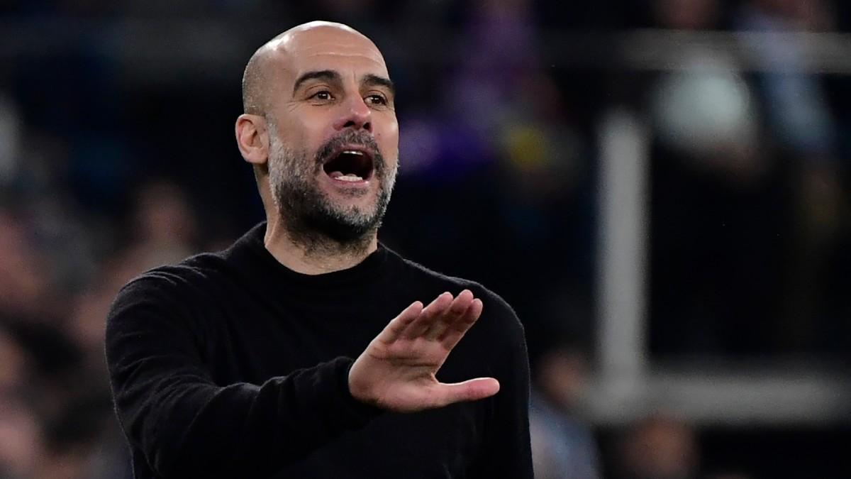 Pep Guardiola, durante un partido del Manchester City (AFP).