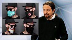 Pablo Iglesias luciendo la marca 198 y las mascarillas de esa cadena.