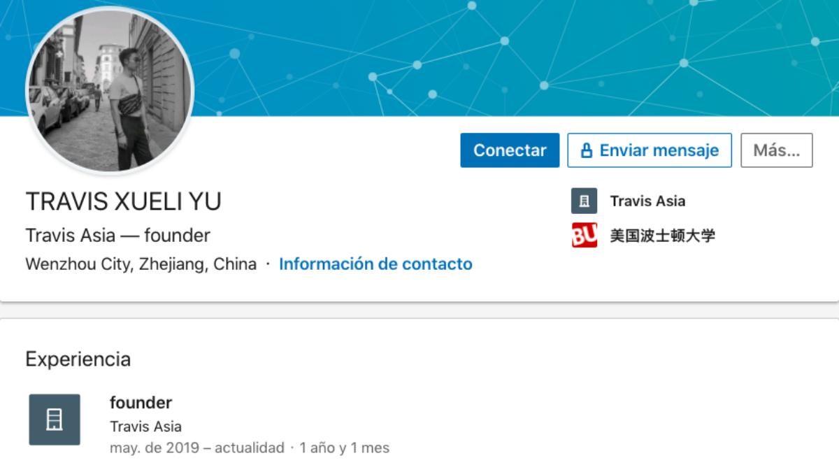 Perfil del proveedor Xueli Yu en la red LinkedIn.