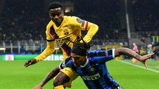 Wagué, durante un partido del Barcelona (AFP).