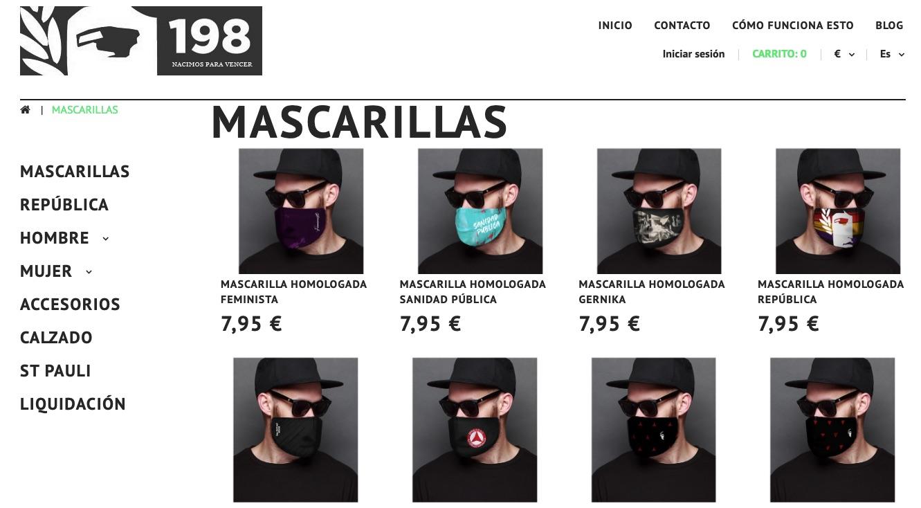 La marca de ropa del dircom de Podemos lanza unas mascarillas «antifascistas» para hacer caja con la pandemia
