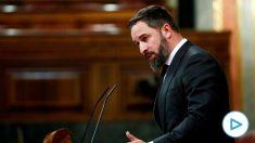 El líder de Vox, Santiago Abascal, en la tribuna de oradores del Congreso. (Foto: EP)