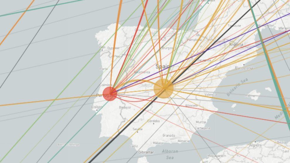 Mapa de las versiones del coronavirus importadas y exportadas por España.