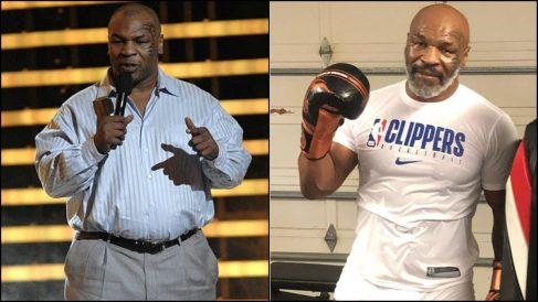 Mike Tyson en una imagen de hace unos años y otra actual, entrenando.