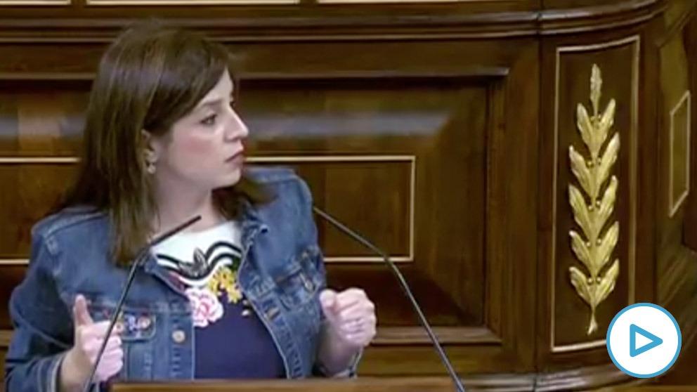 Adriana Lastra, portavoz del PSOE, durante su intervención en el Congreso este miércoles.