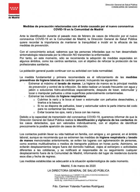 """La directora de Salud de Madrid que dimite por """"responsabilidad"""" pidió el 5-M """"tranquilidad"""" por la """"eficacia de la prevención"""""""