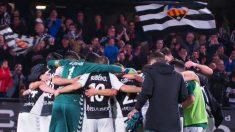 El Castellón, celebrando un gol.