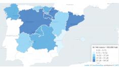 Mapa del número de casos registrados por cada 100.000 habitantes en las dos últimas semanas, según el Ministerio de Sanidad.