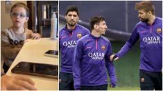 El hijo de Walter Montillo y los tres jugadores del Barcelona.