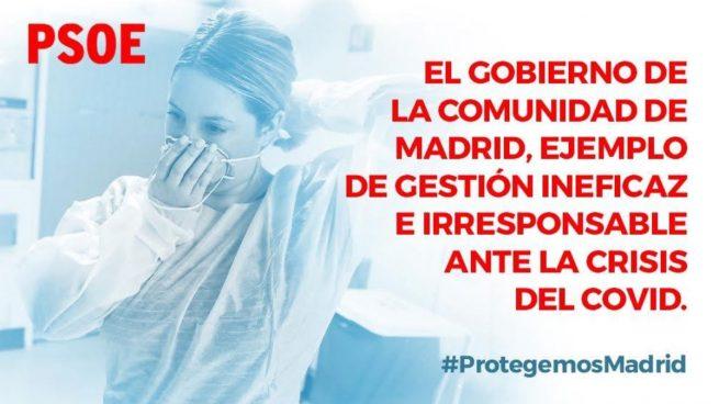 El PSOE, con más de 35.000 muertos y tras alentar el 8-M, culpa de la «crisis del Covid» ¡¡a Madrid!!