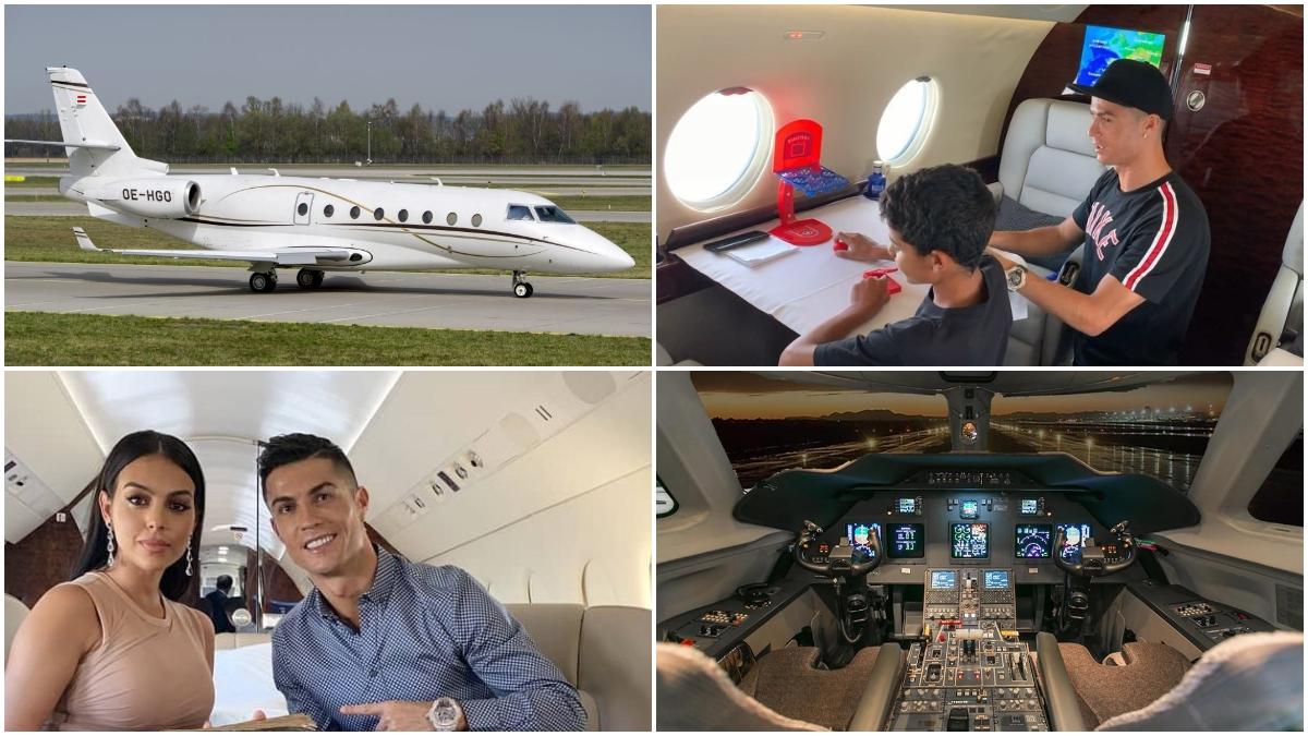 Varias imágenes del avión privado de Cristiano Ronaldo.