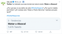 Vox ha denunciado con este mensaje las amenazas de muerte contra su presidente, Santiago Abascal.