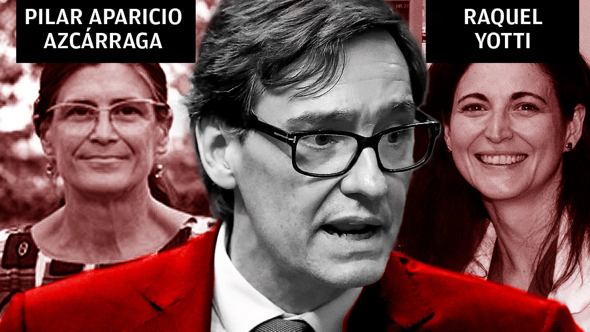 El ministro de Sanidad, Salvador Illa, y sus colaboradoras Pilar Aparicio y Raquel Yotti.