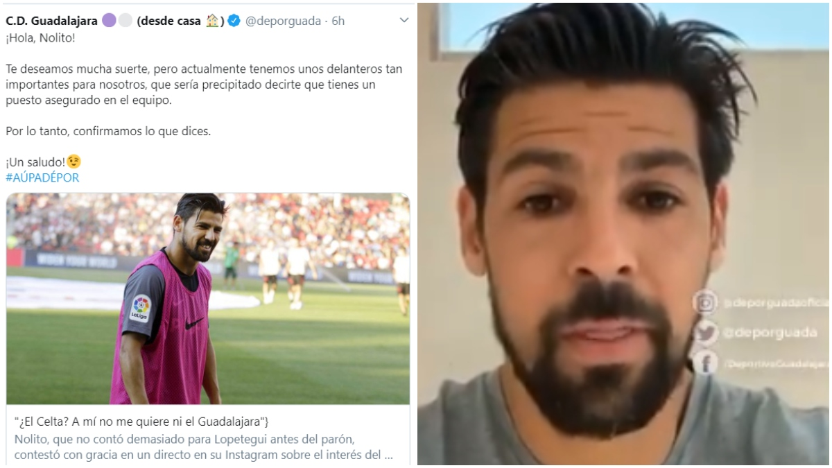 El tuit del Guadalajara y una imagen de Nolito.
