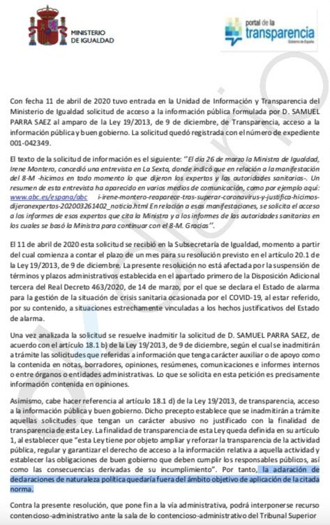 Irene Montero niega a Transparencia los informes ministeriales con los que justificó no suspender el 8-M