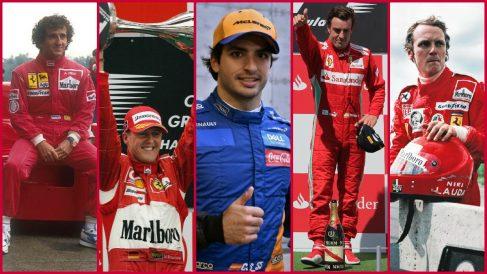 Carlos Sainz y los 43 pilotos de historia de Ferrari.