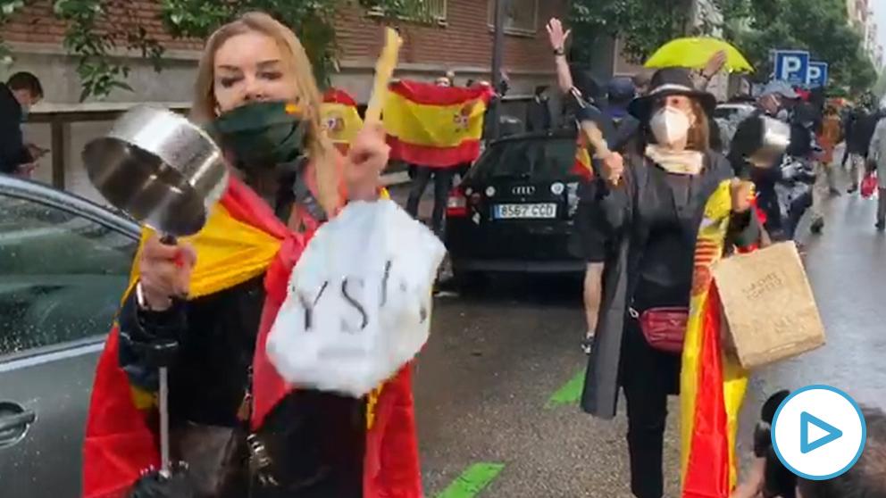 Protesta en la calle Núñez de Balboa de Madrid.