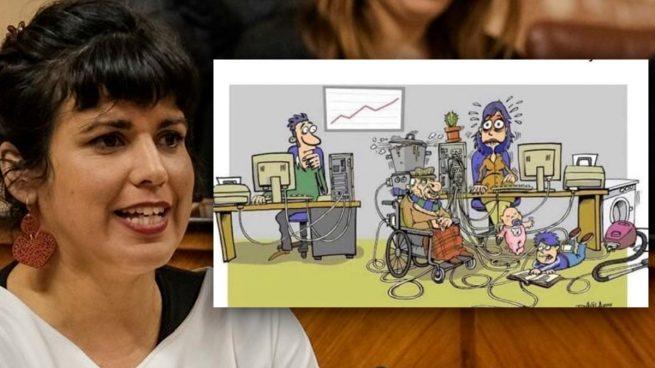 Teresa Rodríguez vuelve a demostrar su odio al hombre.