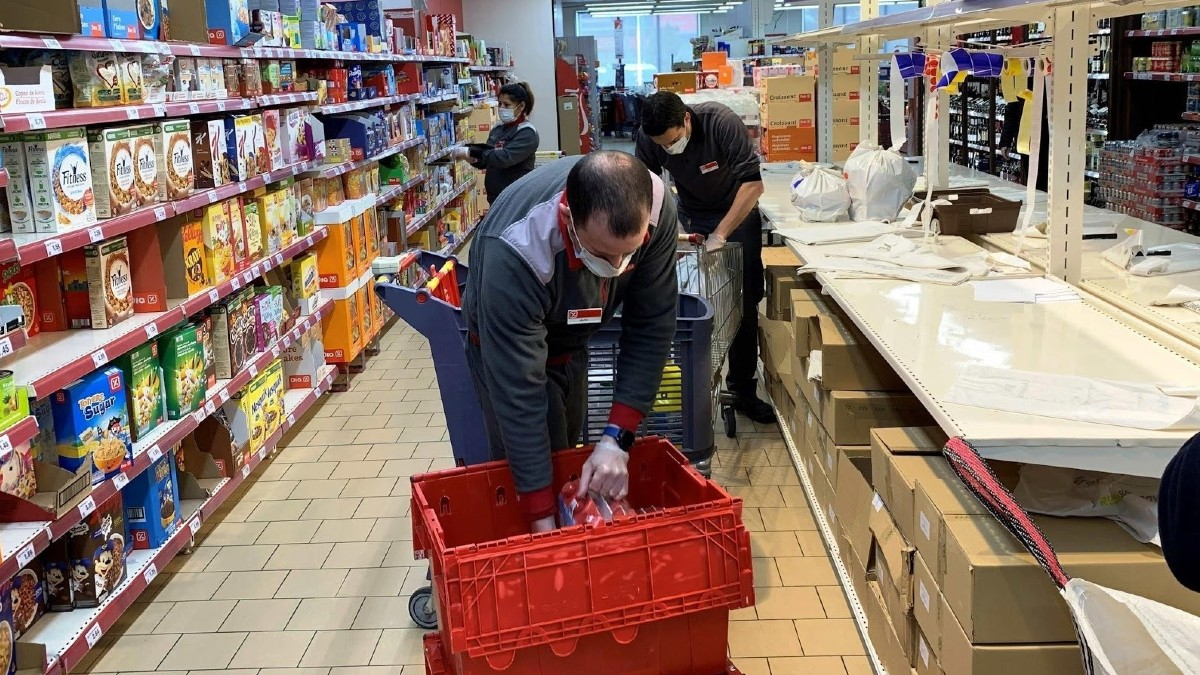 Un supermercado de DIA durante la cuarentena