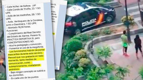 Calle Núñez de Balboa y texto de la orden a la Policía.