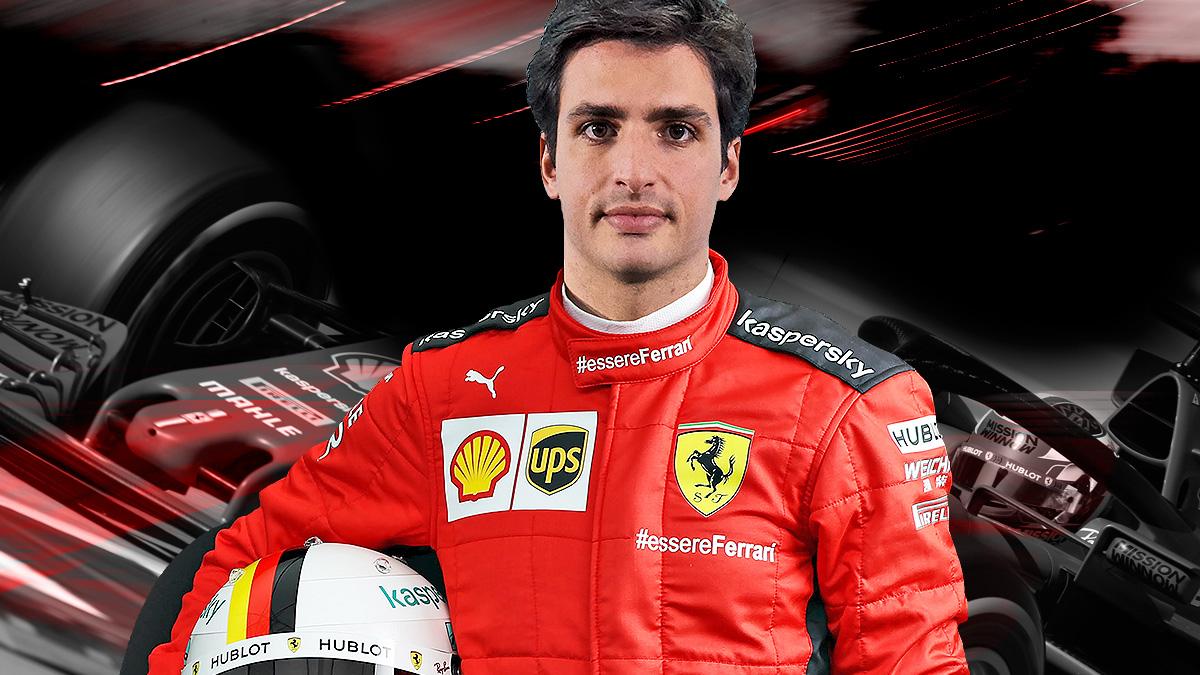 Carlos Sainz con los colores de Ferrari.
