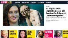 La portada de la web La última hora, que dirige la ex asistente de Pablo Iglesias en el Parlamento europeo Dina Bousselham.