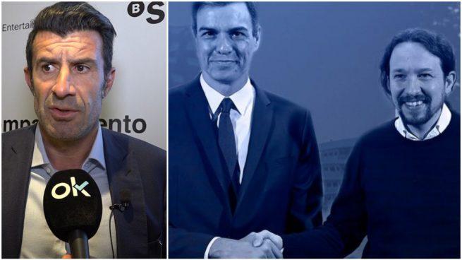 Figo, Pedro Sánchez y Pablo Iglesias.