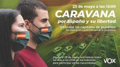 Cartel de Vox anunciando las manifestaciones del día 23 de mayo.