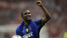 Eto'o tras ganar la Champions en Madrid con el Inter. (AFP)