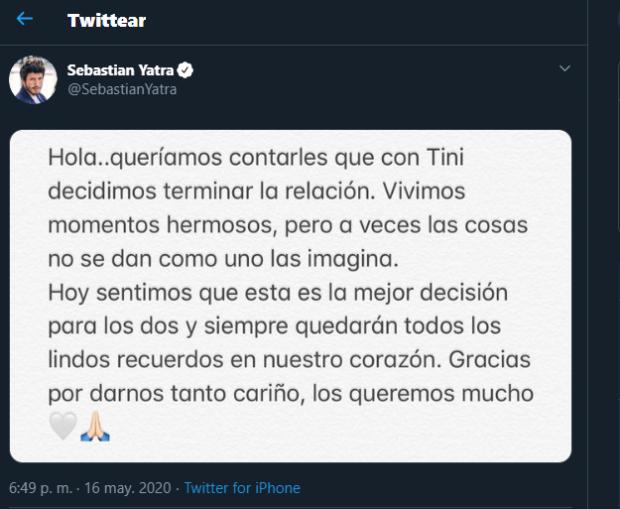 Sebastian Yatra y Tini lanzaron un escueto comunicado en redes sociales