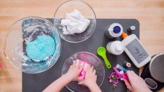 Todos los pasos para poder hacer slime arcoiris con los niños