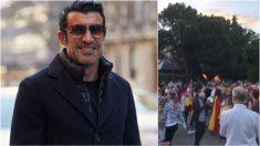 Luis Figo publicó un vídeo en una de las protestas contra el Gobierno.