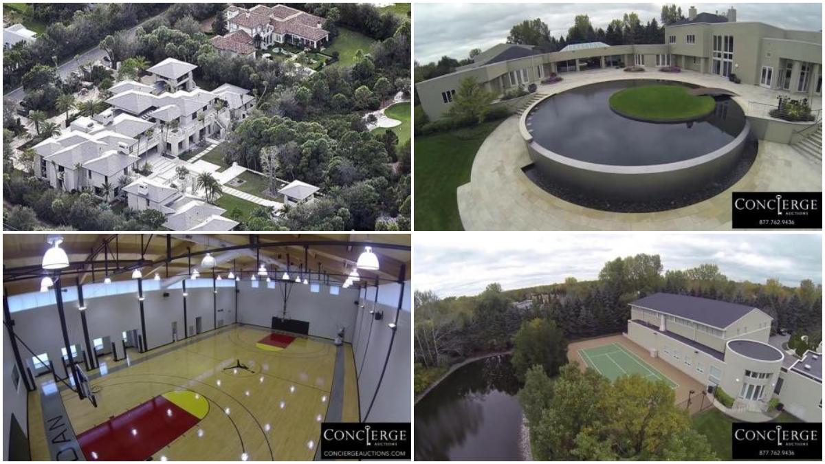 Cuatro imágenes de la mansión de Jordan en Chicago.