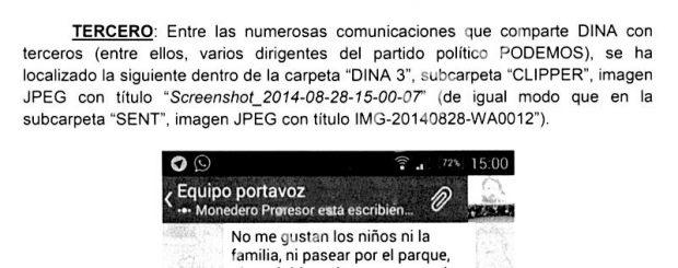 Dina asegura al juez que Pablo Iglesias le entregó la tarjeta de su móvil destruida