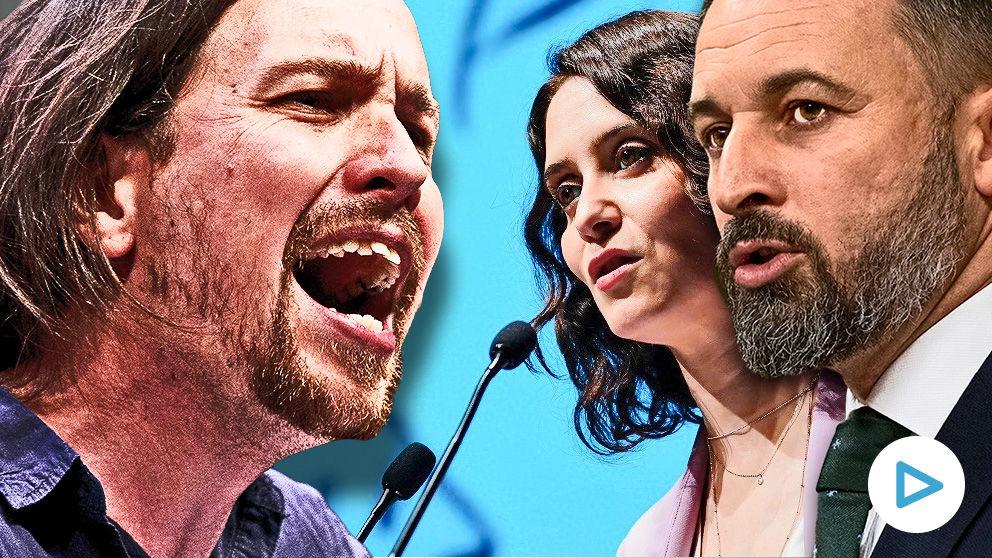 Pablo Iglesias, líder de Podemos, Isabel Díaz Ayuso, presidenta de la Comunidad de Madrid, y Santiago Abascal, presidente de Vox.