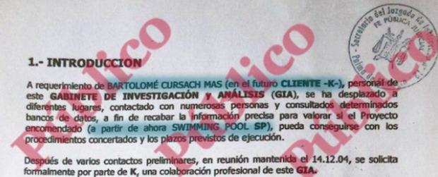 Documento de Público sobre el informe fake de Cursach donde aparecen las letras por encima del sello.