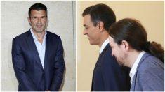 Luis Figo, Pedro Sánchez y Pablo Iglesias, en fotos de archivo.