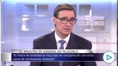 Salvador Illa el pasado 27 de febrero: «No hay que usar mascarilla por la calle, se ha generado un pánico irracional». (Imágenes: Telecinco)