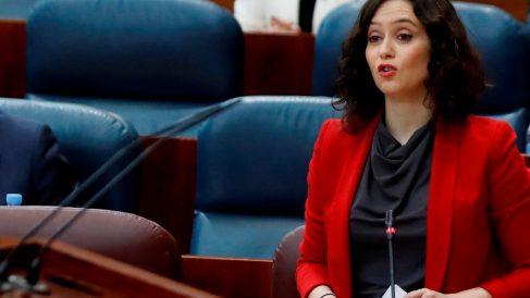 La presidenta de la Comunidad de Madrid, Isabel Díaz Ayuso, en el Pleno de la Asamblea de Madrid