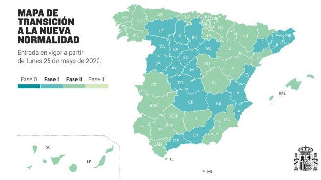 Así queda el mapa de España con las fases 1 y 2 de desescalada