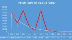 Gráfica de la carga viral encontrada en las muestras de 16.000 pacientes de HM Hospitales.