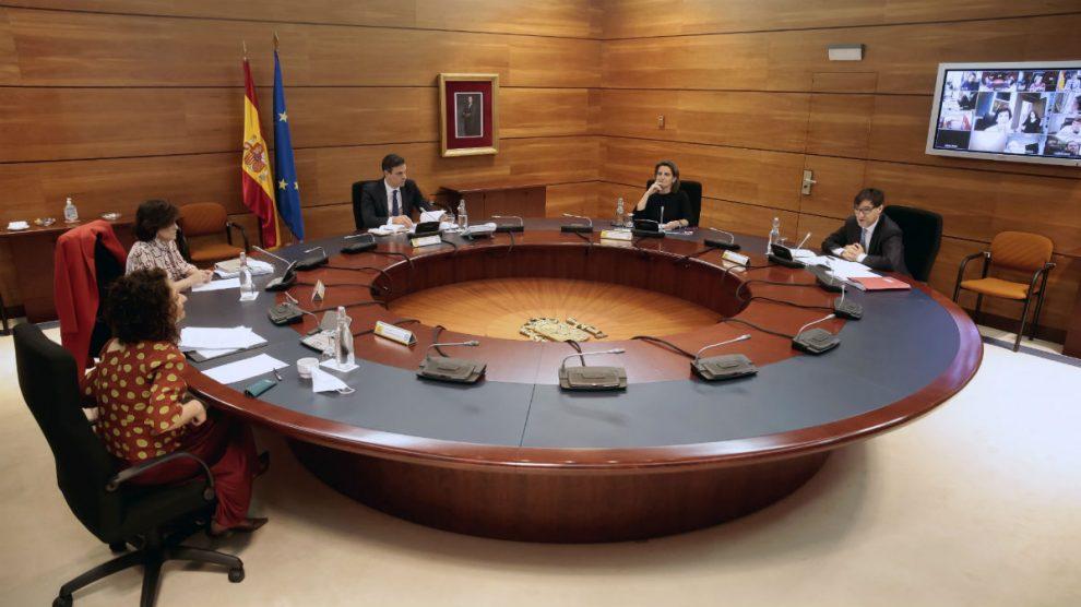 Consejo de Ministros en la Moncloa durante la pandemia. Foto: EFE