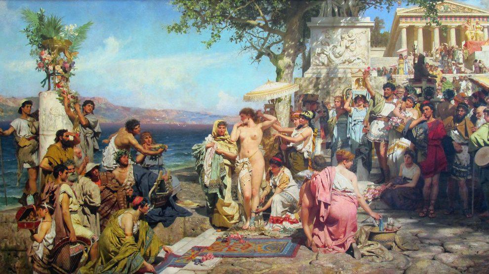 Friné se dispone a bañarse en la playa de Eleusis. 1889. Henryk Siemiradzki.