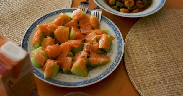 Ensalada de melón y salmón